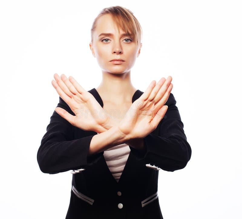 Młoda biznesowa kobieta robi przerwy desture zdjęcie stock