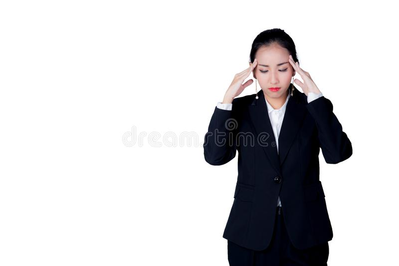 Młoda biznesowa kobieta stresu przepracowywać się obraz stock