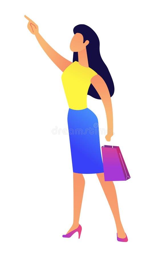 Młoda biznesowa kobieta wskazuje z palcową wektorową ilustracją z torba na zakupy royalty ilustracja