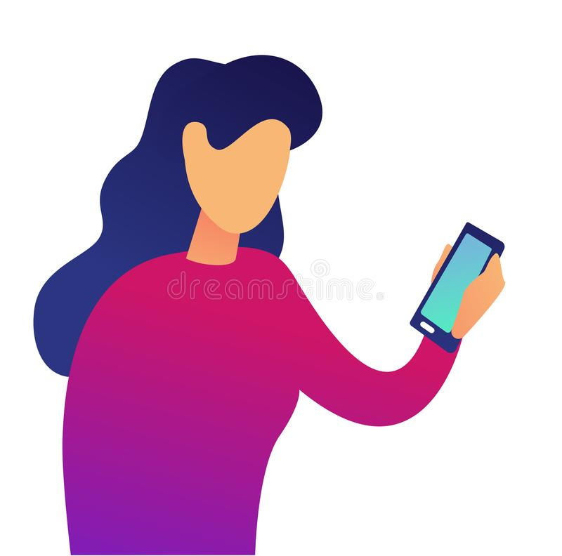 Młoda biznesowa kobieta z smartphone wektoru ilustracją ilustracja wektor