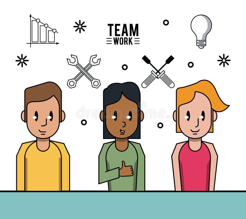 Młoda biznesowa praca zespołowa royalty ilustracja