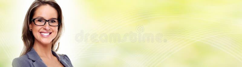 Młoda biznesowej kobiety twarz z eyeglasses zdjęcie stock
