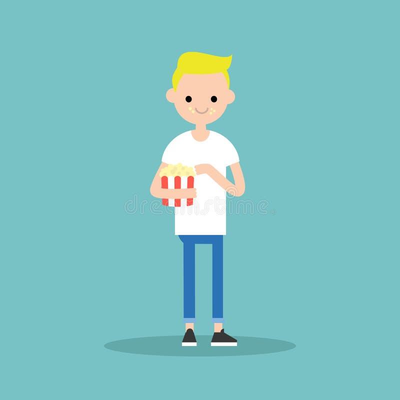 Młoda blond chłopiec żuć popkorn/folował długość charakteru Mieszkanie ve ilustracji