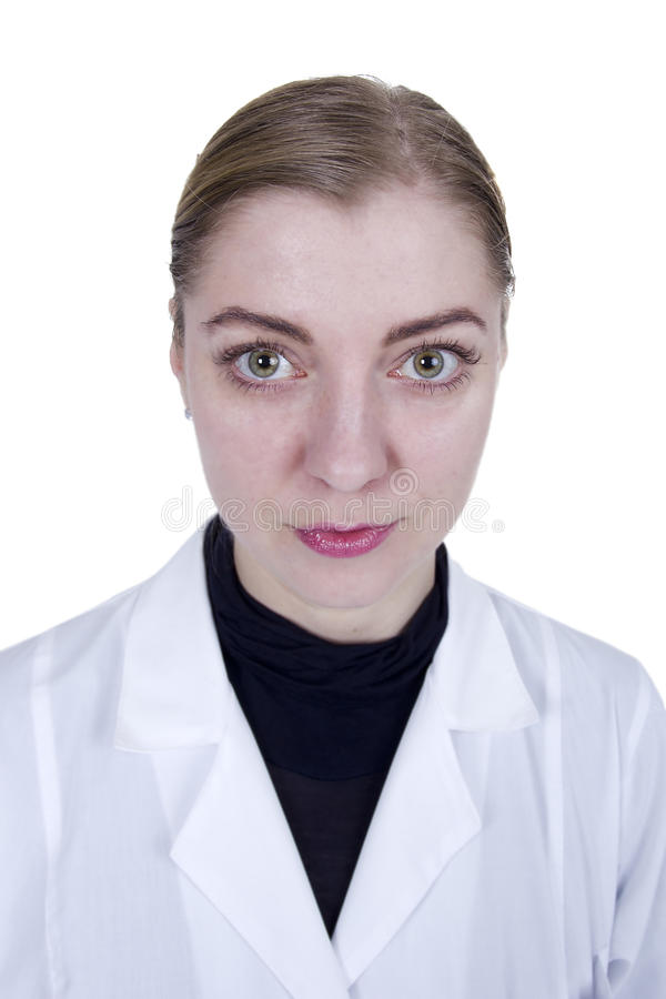 Młoda blond kobieta w białej opatrunkowej todze zdjęcie stock