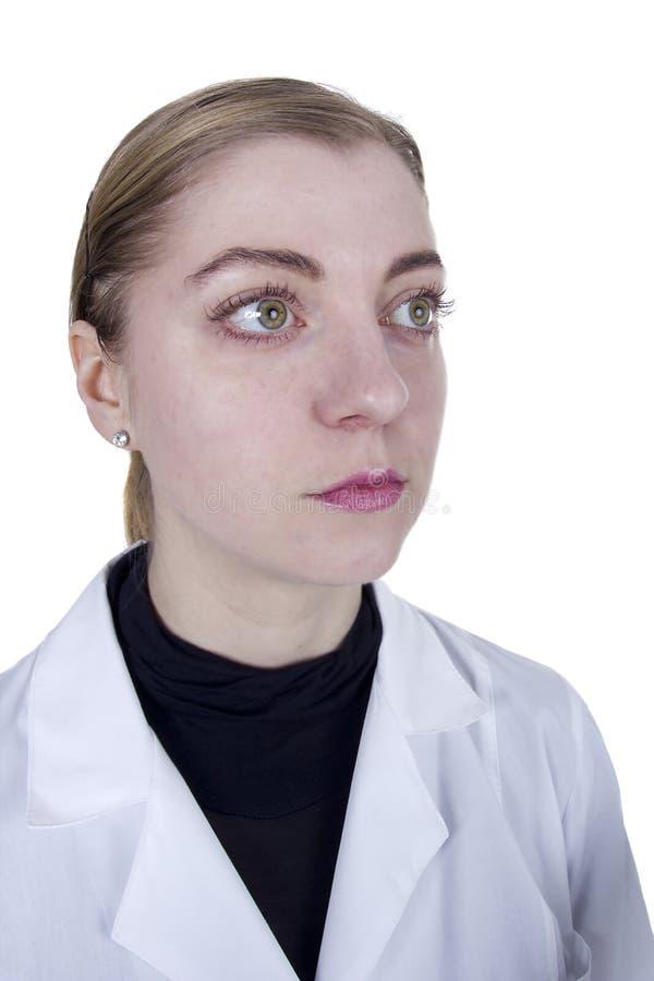 Młoda blond kobieta w białej opatrunkowej todze obraz stock