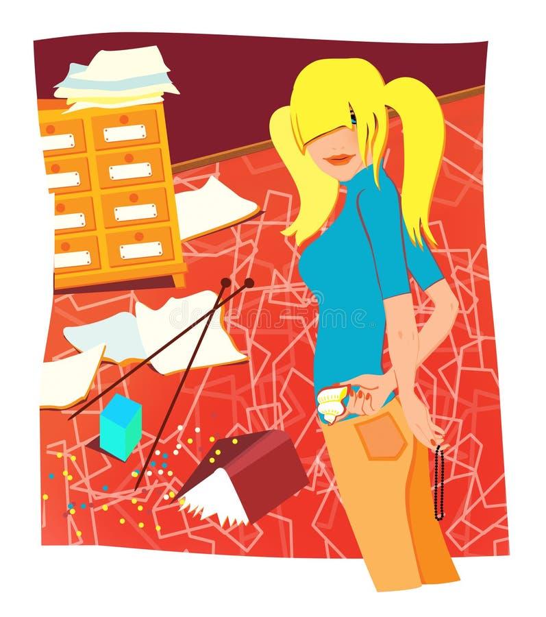 Młoda blondynki dziewczyna robi czyścić w pokoju ilustracji