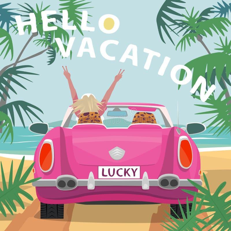 Młoda blondynki dziewczyna w różowym kabrioletu samochodzie na plaży ilustracji