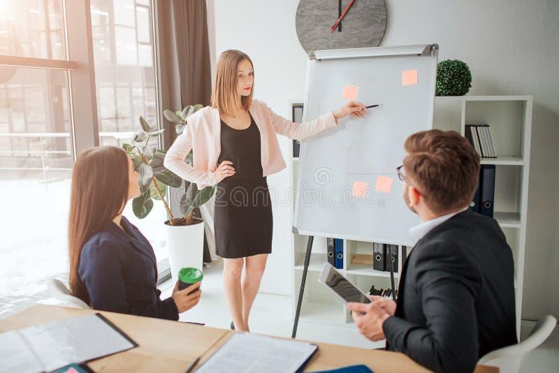 Młoda blondynki kobieta robi presenttion w pokoju konferencyjnym Jej koledzy słuchają ona Siedzą przy stołem i patrzeją zdjęcia stock