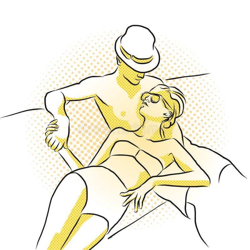 Młoda bogata para bierze sunbath na łodzi Barwiona grafika ilustracja wektor
