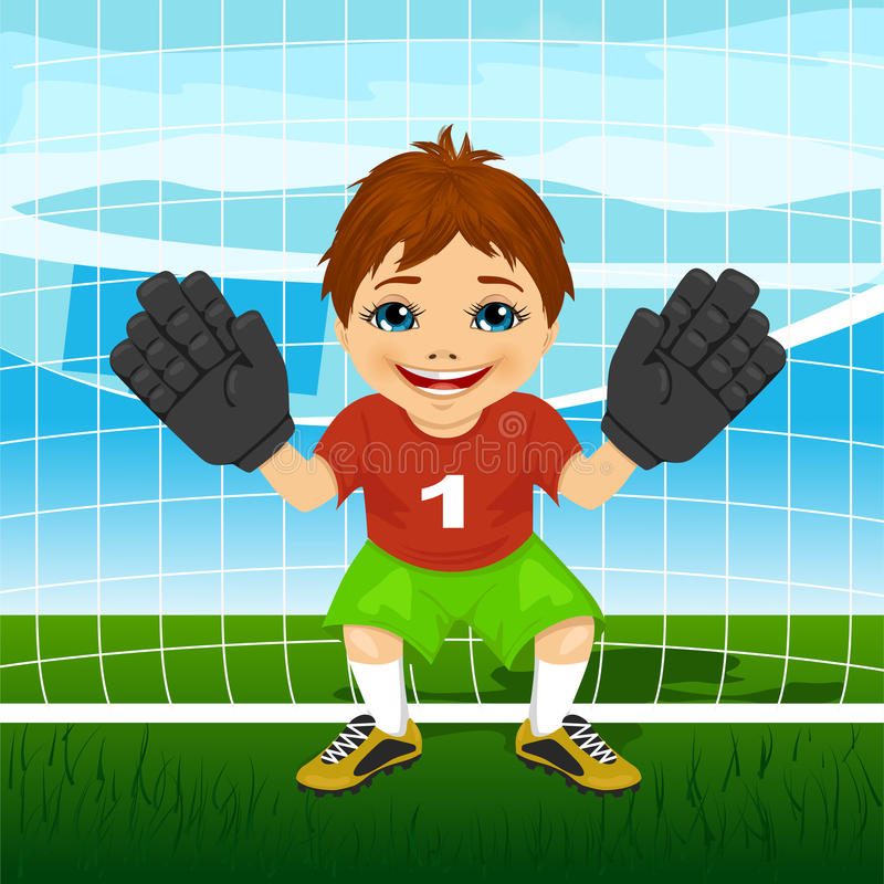 Młoda bramkarz chłopiec jest ubranym czerwieni i zieleni sportswear w gotowej pozyci ilustracja wektor