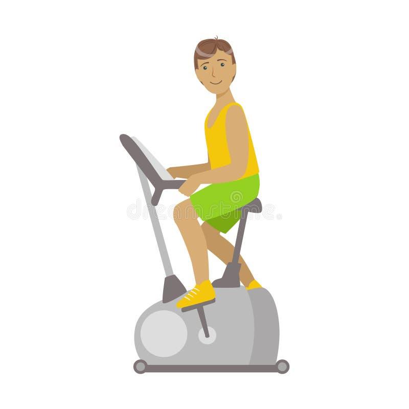 Młoda brunetki samiec jest pracująca w kolarstwa gym out Kolorowy postać z kreskówki ilustracji