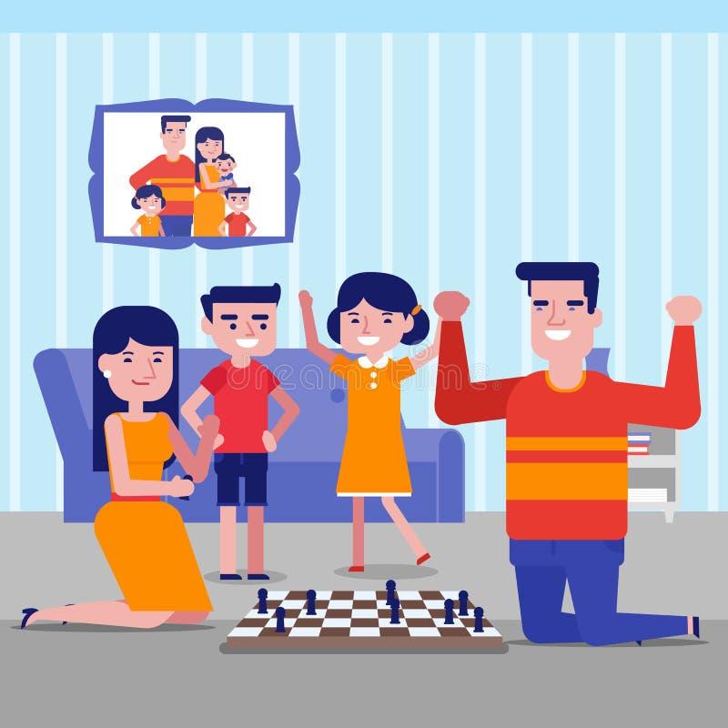 Młoda caucasian biała rodzina bawić się szachy w domu ilustracji