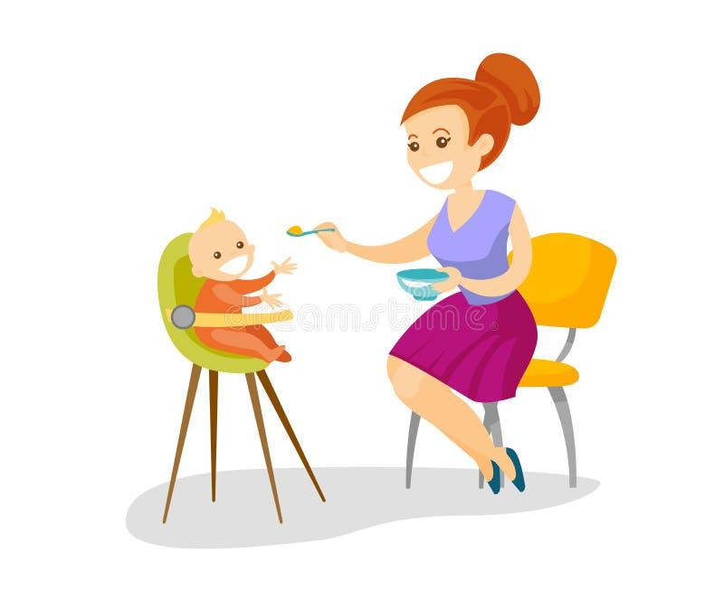 Młoda caucasian biel matka karmi jej dziecka ilustracja wektor