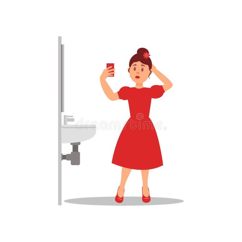 Młoda caucasian dziewczyna robi selfie na smartphone w toalecie Kreskówki kobiety charakter stoi blisko zlew Płaski wektor ilustracji