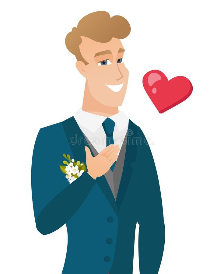 Młoda caucasian fornala mienia ręka na jego klatce piersiowej ilustracji