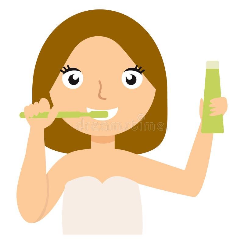 Młoda caucasian kobieta szczotkuje jej zęby wektorowych royalty ilustracja