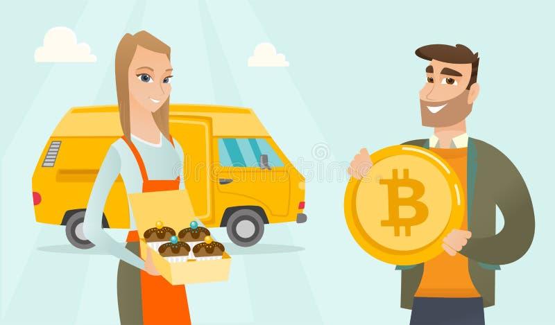 Młoda caucasian piekarniana ofiary zapłata bitcoin ilustracja wektor