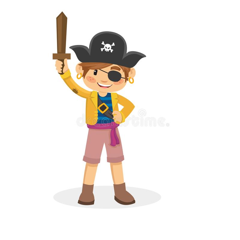 Młoda chłopiec bawić się pirata kostium i jest ubranym royalty ilustracja