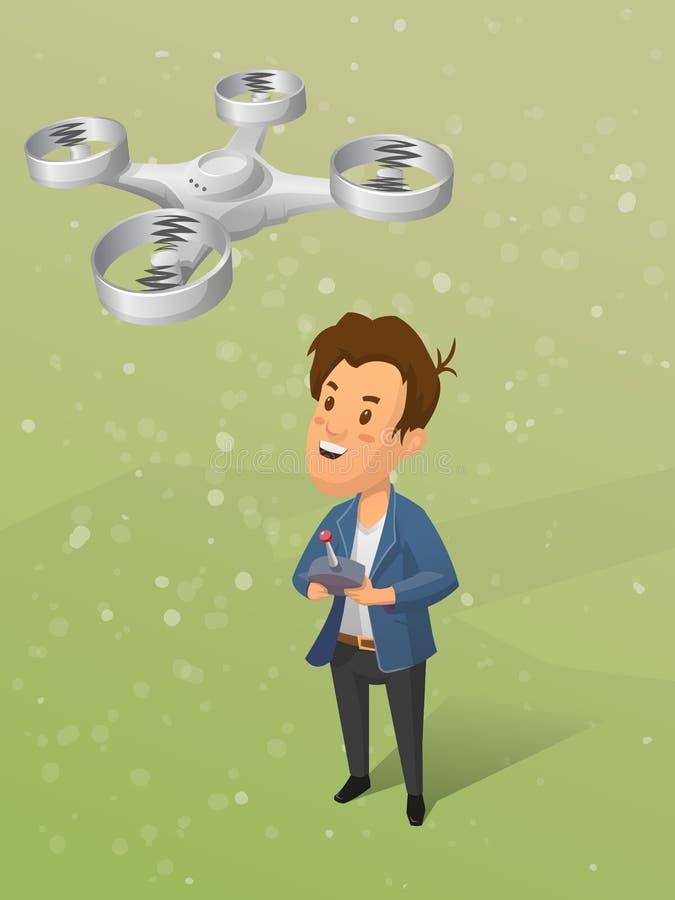 Młoda chłopiec kontroluje bezpilotowego powietrznego vechicle quadrocopter również zwrócić corel ilustracji wektora ilustracja wektor