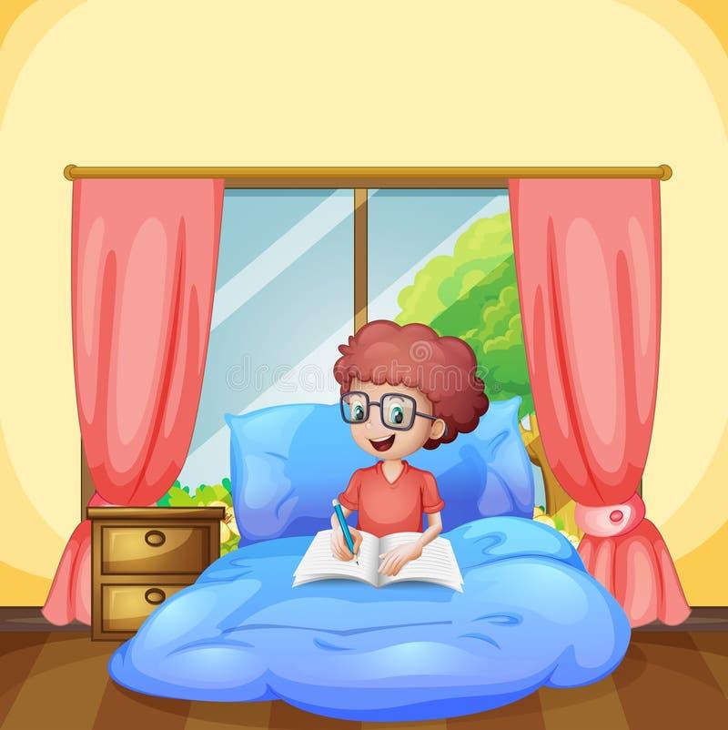 Młoda chłopiec nauka w sypialni ilustracji