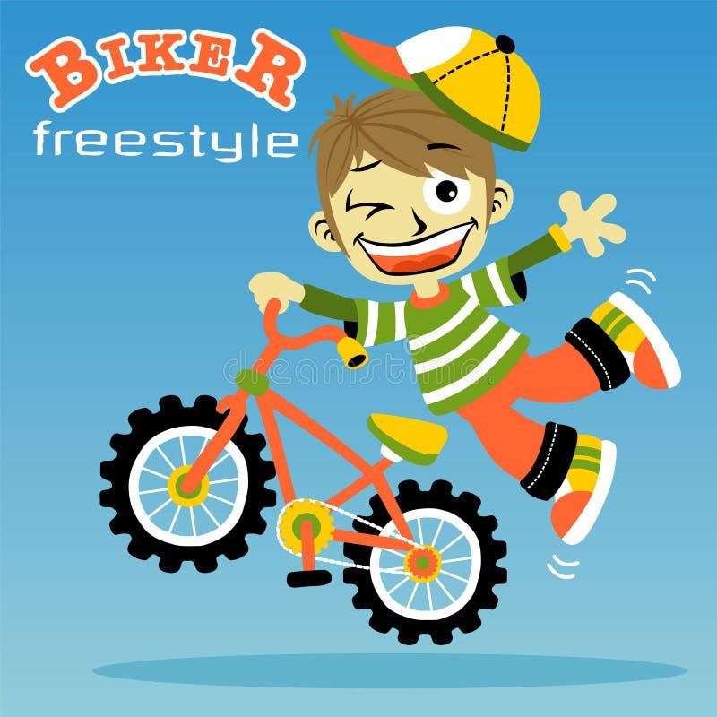 Młoda chłopiec rowerzysty kreskówka ilustracji