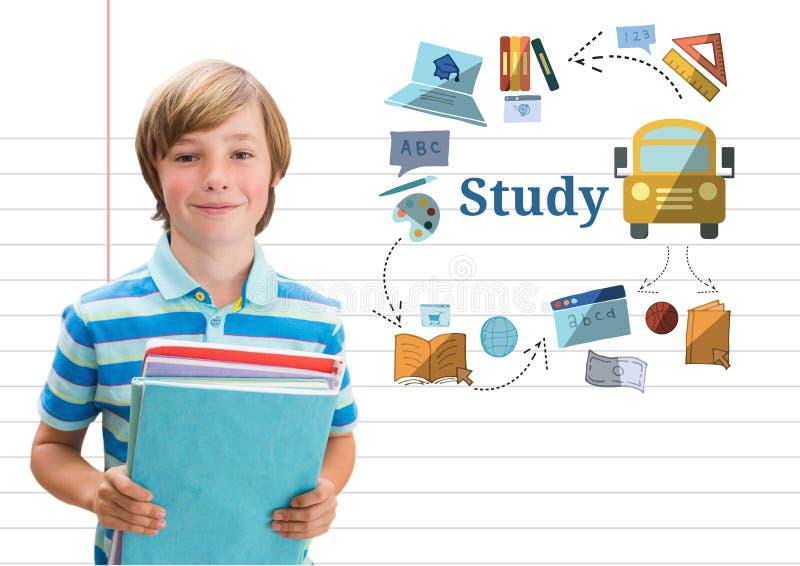 Młoda chłopiec szkoła z książkami i nauka tekstem z edukacja rysunków grafika ilustracji