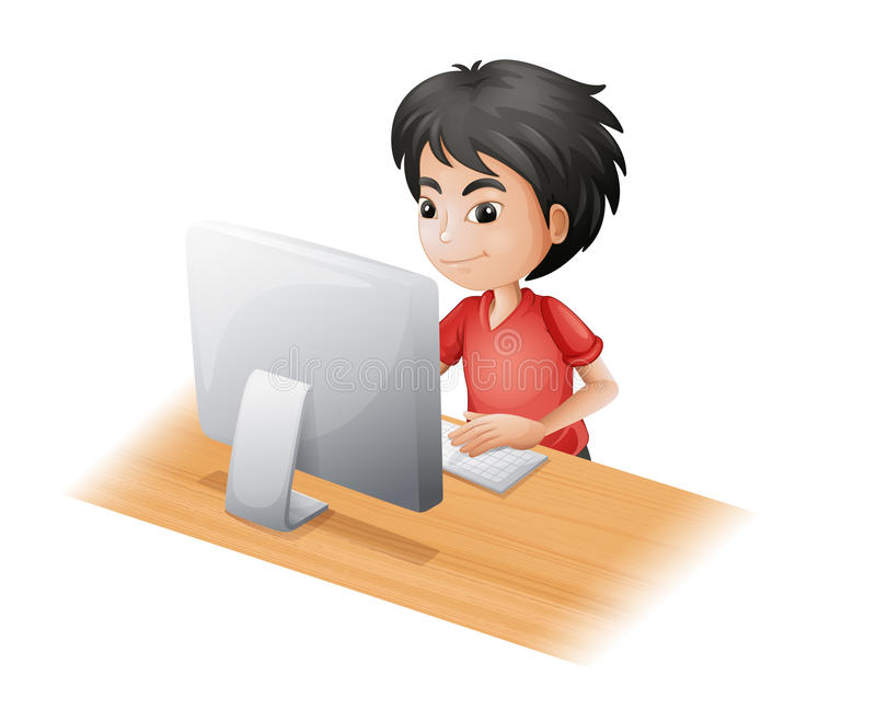 Młoda chłopiec używa komputer royalty ilustracja