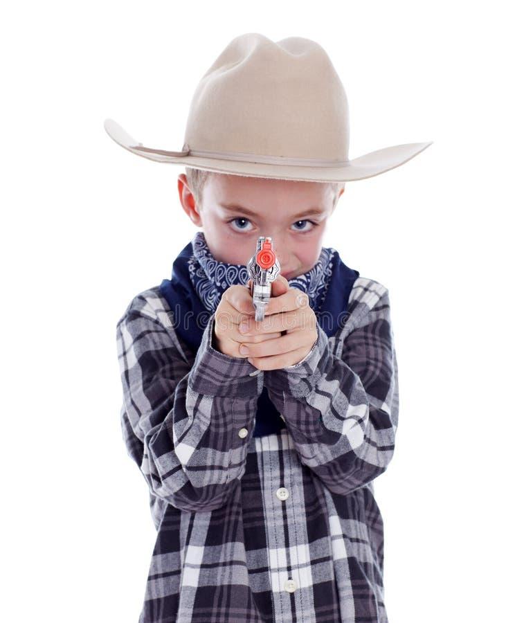 Młoda chłopiec ubierał jako kowboj obrazy royalty free