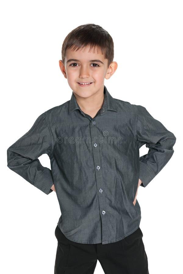 Download Młoda Chłopiec W Szarej Koszula Zdjęcie Stock - Obraz złożonej z dzieciństwo, śliczny: 41951494