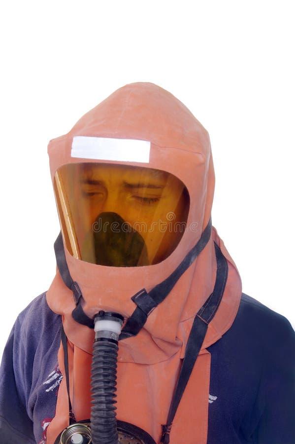 Młoda chłopiec z maską gazową zdjęcia stock