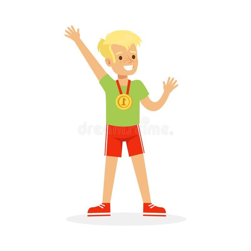 Młoda chłopiec z pierwszy miejsce medalem, dzieciak świętuje jego złotą medal kreskówki wektoru ilustrację ilustracja wektor