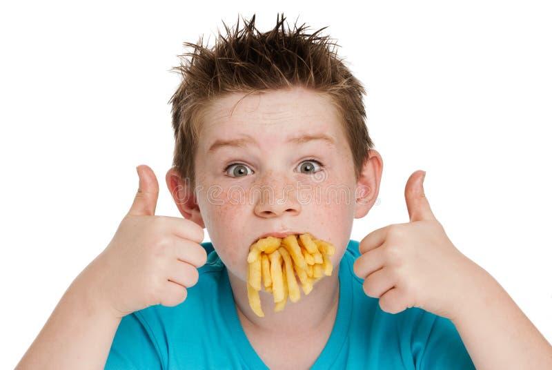 Młoda chłopiec z usta Pełno układy scaleni obraz royalty free