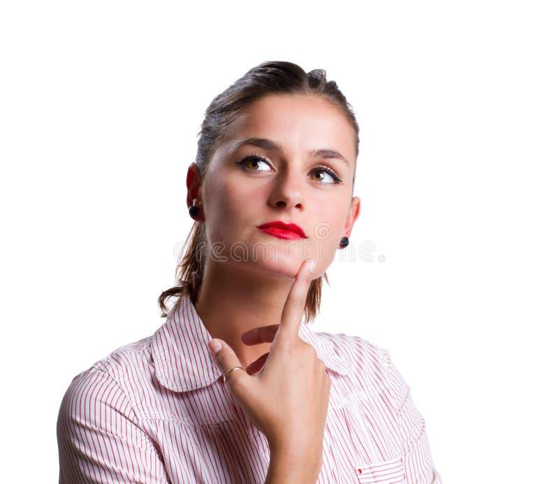 młoda ciężka myśląca kobieta zdjęcia stock