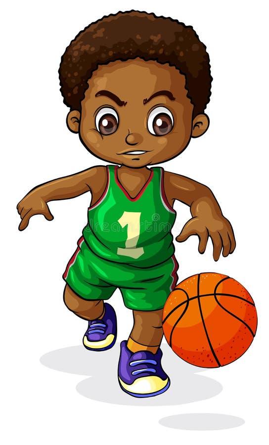 Młoda Czarna chłopiec bawić się koszykówkę ilustracja wektor