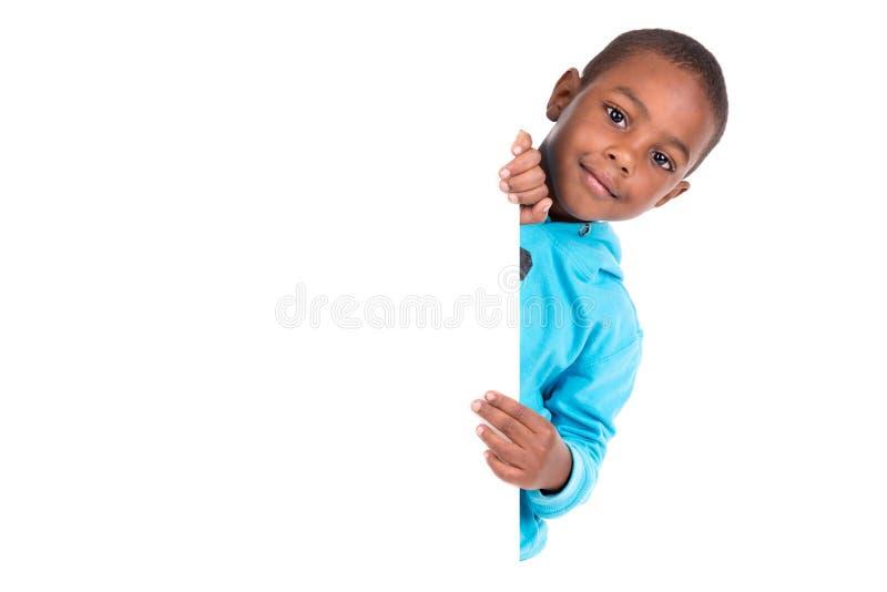 Młoda czarna chłopiec odizolowywająca w bielu zdjęcia stock