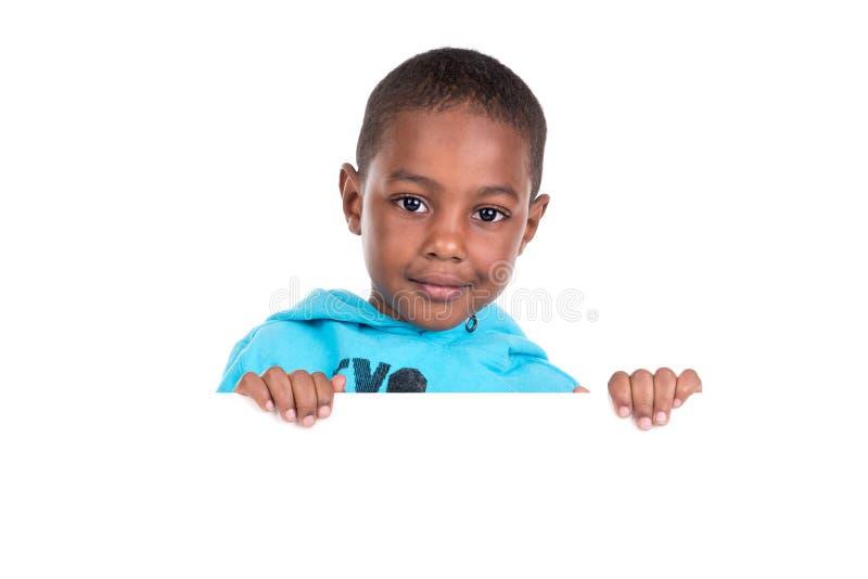 Młoda czarna chłopiec odizolowywająca w bielu zdjęcie royalty free
