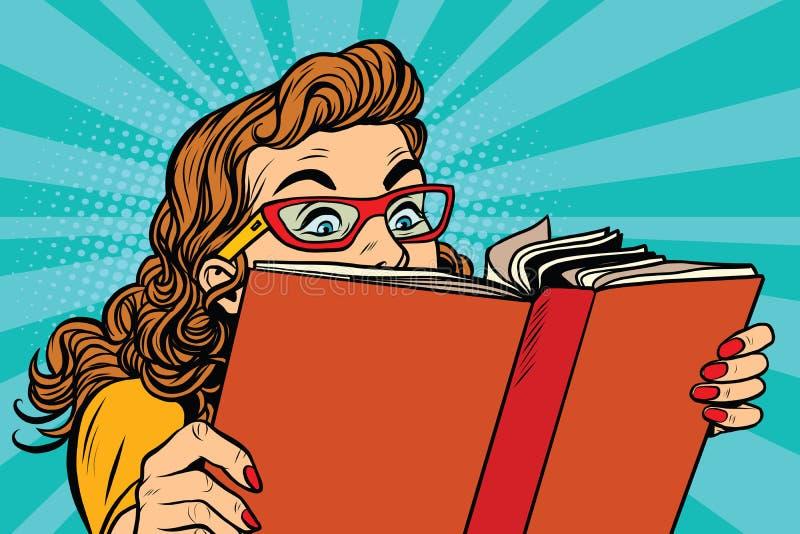 Młoda dama czyta książkę ilustracji
