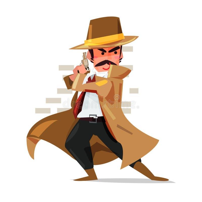 Młoda detektywa, policjanta lub gangstera pozycja za ścianą ilustracji