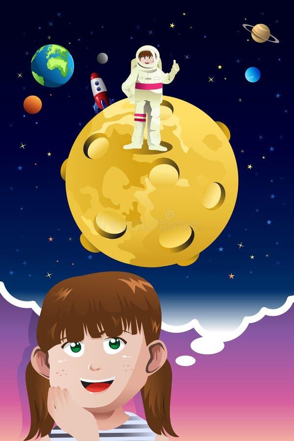 Młoda dziewczyna aspiruje być astronauta ilustracji