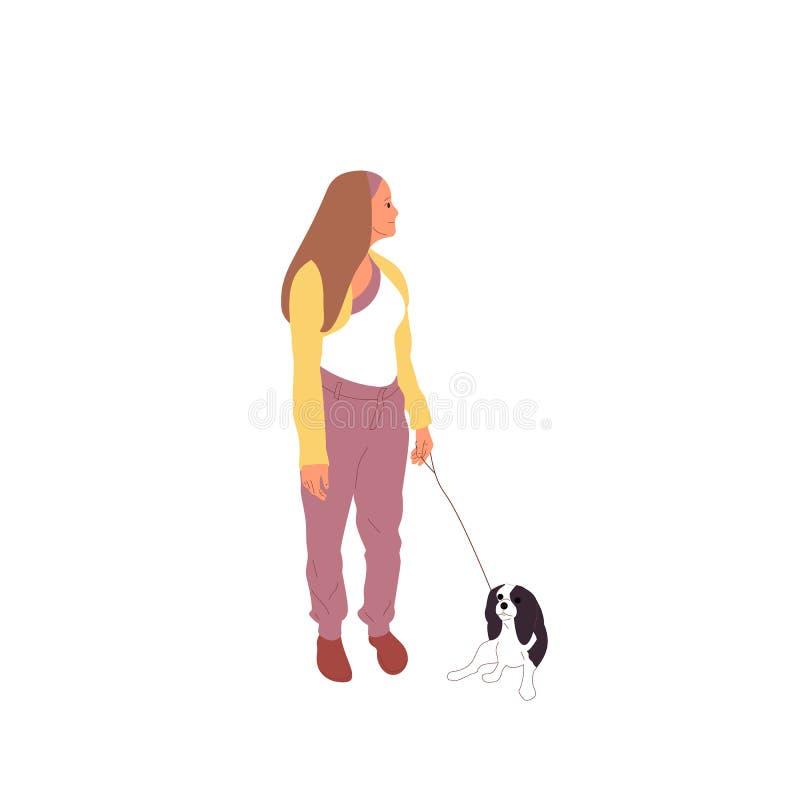 Młoda dziewczyna chodzi z Charles królewiątka kawalerów spanielem Pies na smyczu pojedynczy bia?e t?o Mieszkanie kreskówki stylow royalty ilustracja