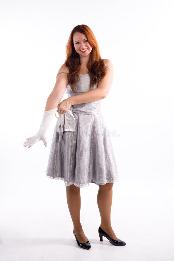 Młoda dziewczyna i biały rękawiczki zdjęcie stock