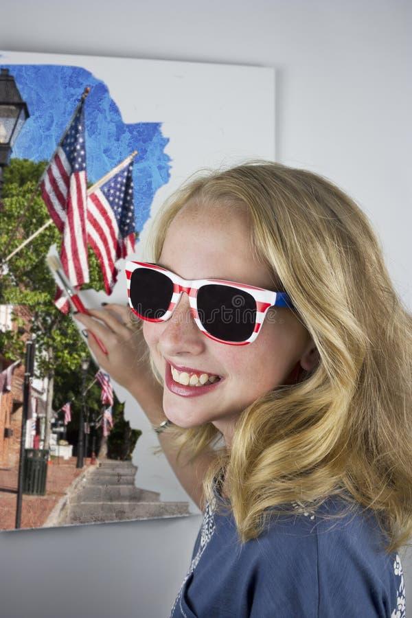 Młoda dziewczyna obrazu flaga obrazy stock
