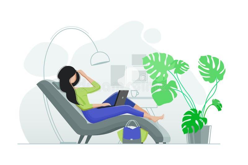Młoda dziewczyna odpoczywa w krześle z laptopem ilustracji