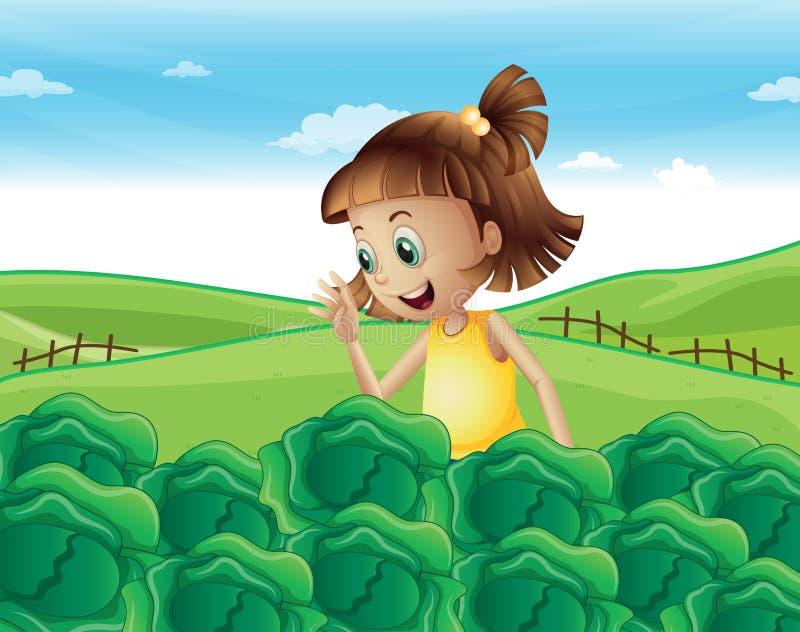 Młoda dziewczyna ogląda narastających warzywa przy gospodarstwem rolnym royalty ilustracja
