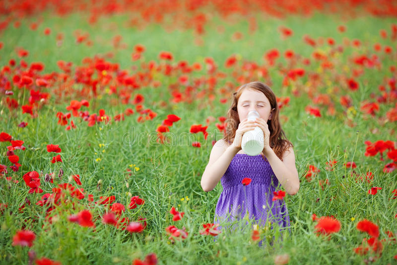 Młoda dziewczyna pije mleko w makowym polu obraz royalty free