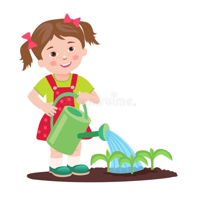 Młoda dziewczyna pracuje w ogródzie Ogrodowy podlewanie royalty ilustracja