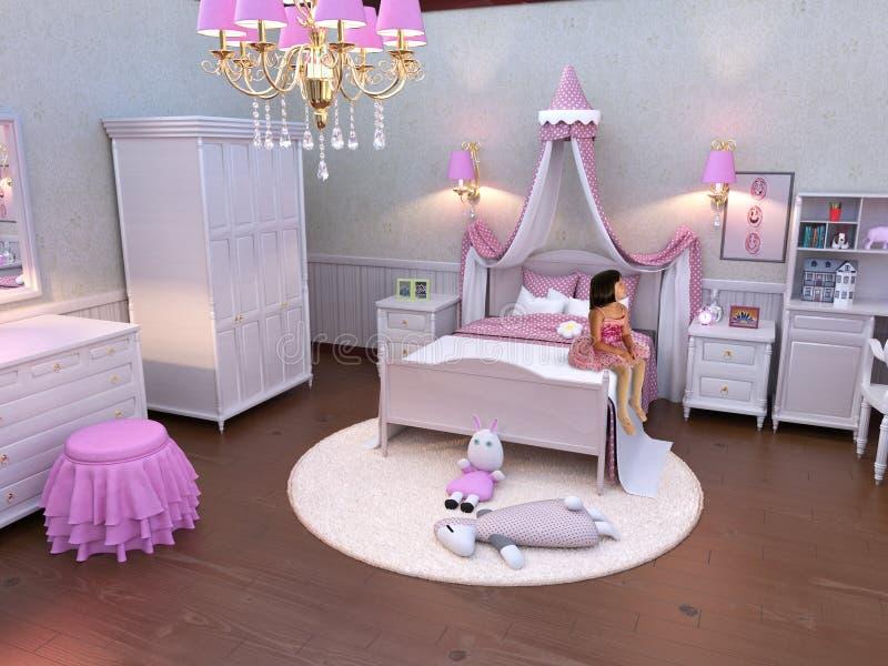 Młoda dziewczyna, różowa sypialnia, Ballerina obrazy royalty free