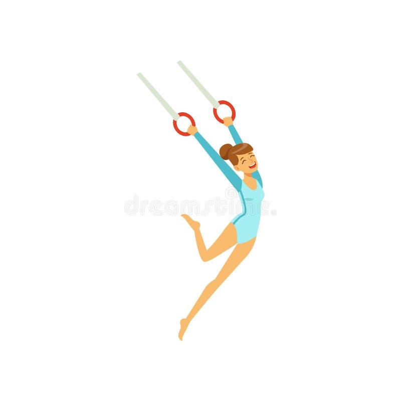 Młoda dziewczyna robi ćwiczeniom, używać latający pierścionek artystyczne gimnastyki Kreskówki sportsmenki charakter w gimnastycz ilustracji
