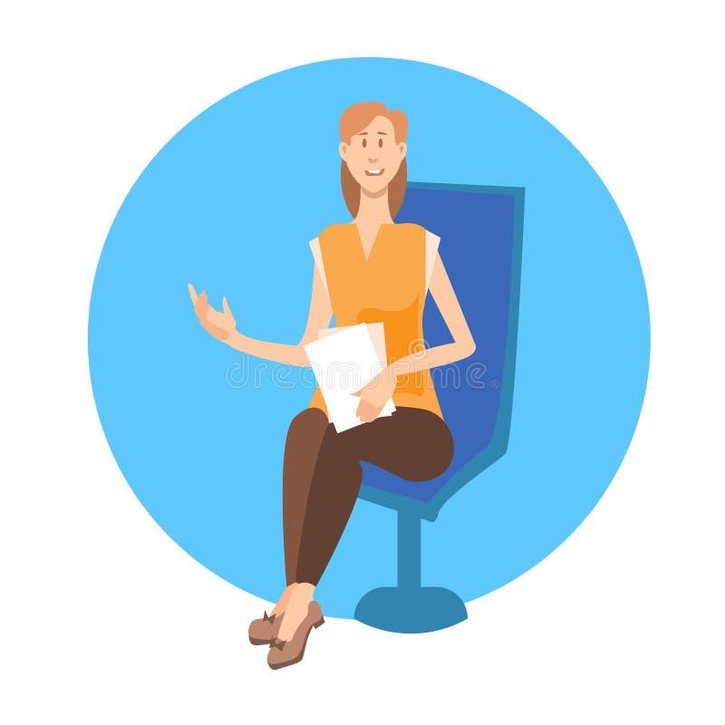 Młoda Dziewczyna Siedzi Na krzesło studenta uniwersytetu ikonie ilustracji
