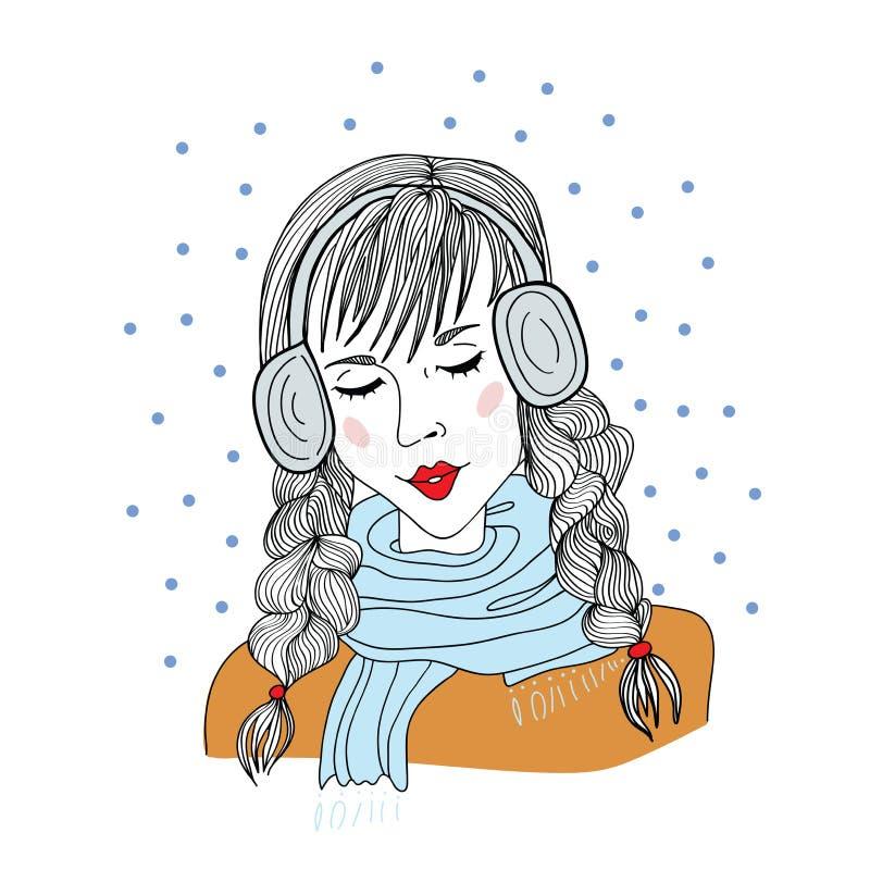 Młoda dziewczyna stoi z zamkniętymi oczami z hełmofonami ilustracji